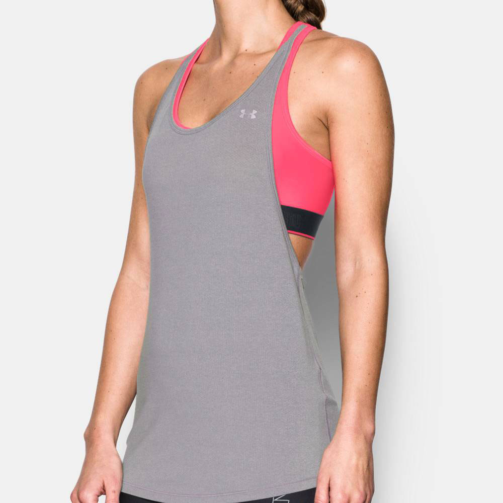 f23387d5098dd1 Under Armour HeatGear 2-in-1 Womens Grey Training Vest Tank Top Singlet