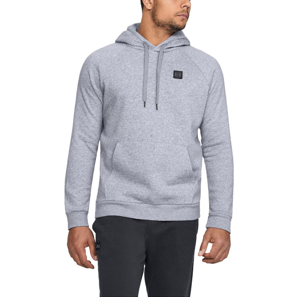 Under Armour Mens Rival Fleece Logo Hoodie Grey Sports Gym Breathable