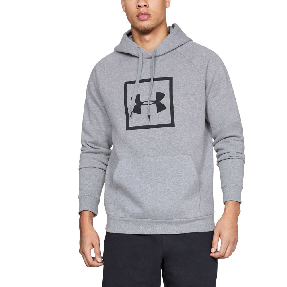Under Armour Mens Rival Fleece Hoodie Grey Sports Gym Breathable Lightweight