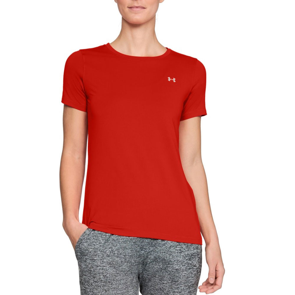 d4c60cba Details about Under Armour Womens HeatGear Short Sleeve Tee Red Sports Gym  Running Breathable