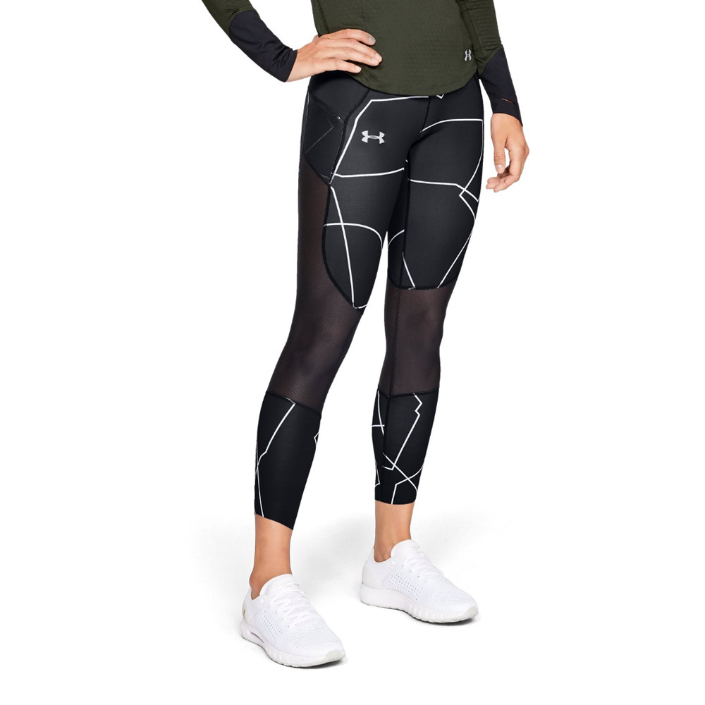 c9f34dd6191291 Under Armour Womens Speedpocket Printed Cropped Running Tights Bottoms Pants