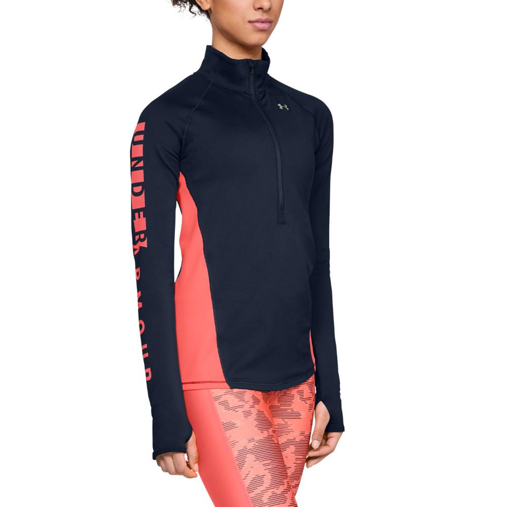 46ce3a8707 Details about Under Armour Womens ColdGear 1/2 Zip Top Navy Blue Sports Gym  Half Warm