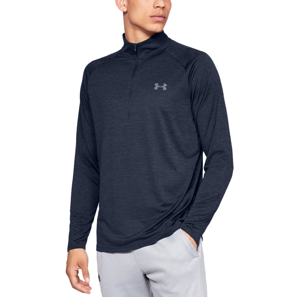 c2ce1be4a8 Details about Under Armour Mens Tech 1/2 Zip Long Sleeve Top Navy Blue  Sports Gym Half