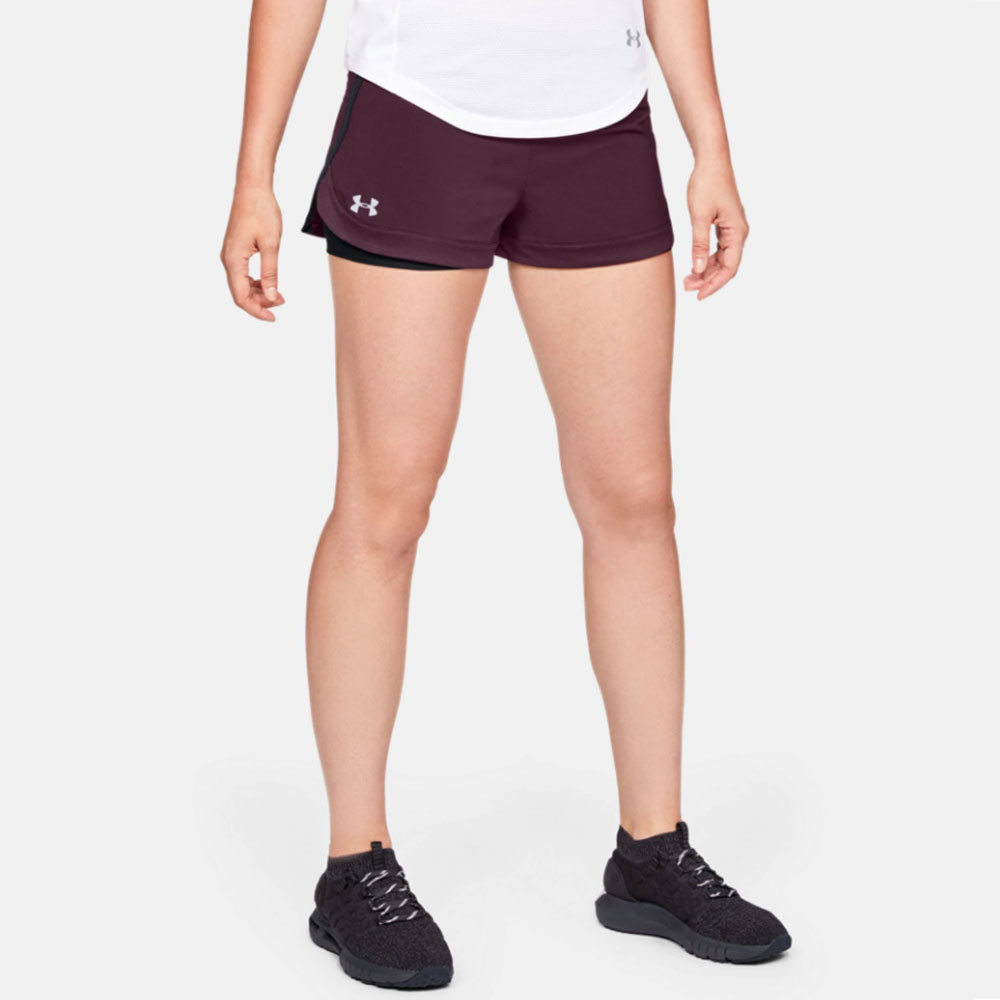 96dc546c40 Details about Under Armour Womens Speedpocket 2-in-1 Running Shorts Pants  Trousers Bottoms Red