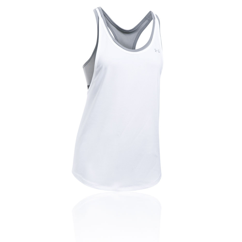 de4b24faab Details about Under Armour Womens HeatGear 2 In 1 Tank Top White Sports Gym  Running Breathable