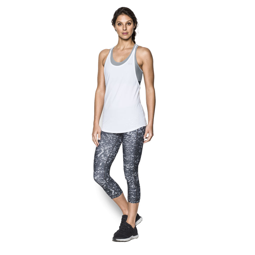 9c5f315dc46df6 Under Armour Womens HeatGear 2 In 1 Tank Top White Sports Gym Running  Breathable