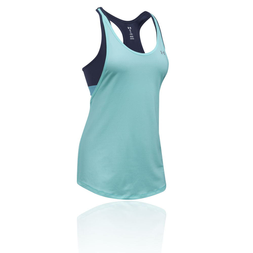 bfcd603ba1 Details about Under Armour Womens HeatGear 2 In 1 Tank Top Blue Sports Gym  Running Breathable
