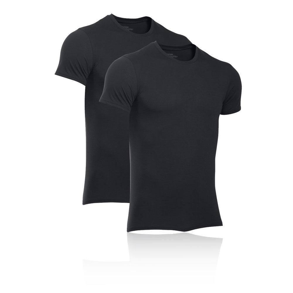 8ec1bb4490 Details about Under Armour Mens Core 2 Pack Crew T Shirt Tee Top Black  Sports Running