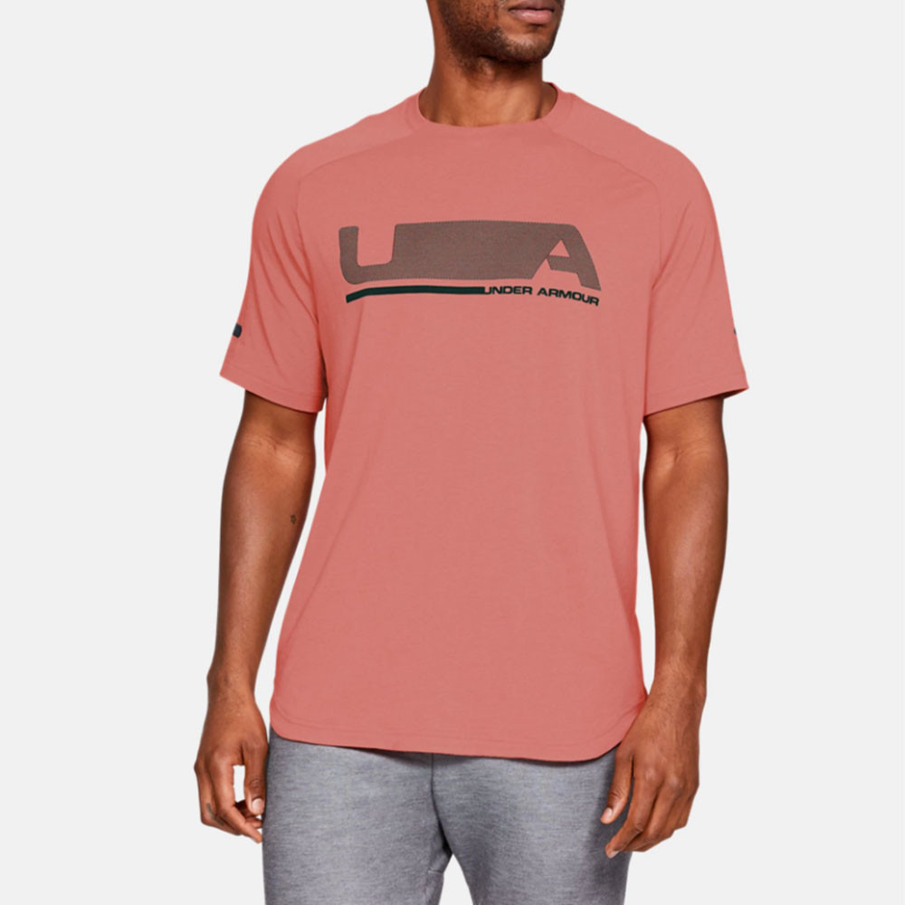 b438cb98ea Details about Under Armour Mens Unstoppable Move Short Sleeve T Shirt Tee  Top Orange Pink