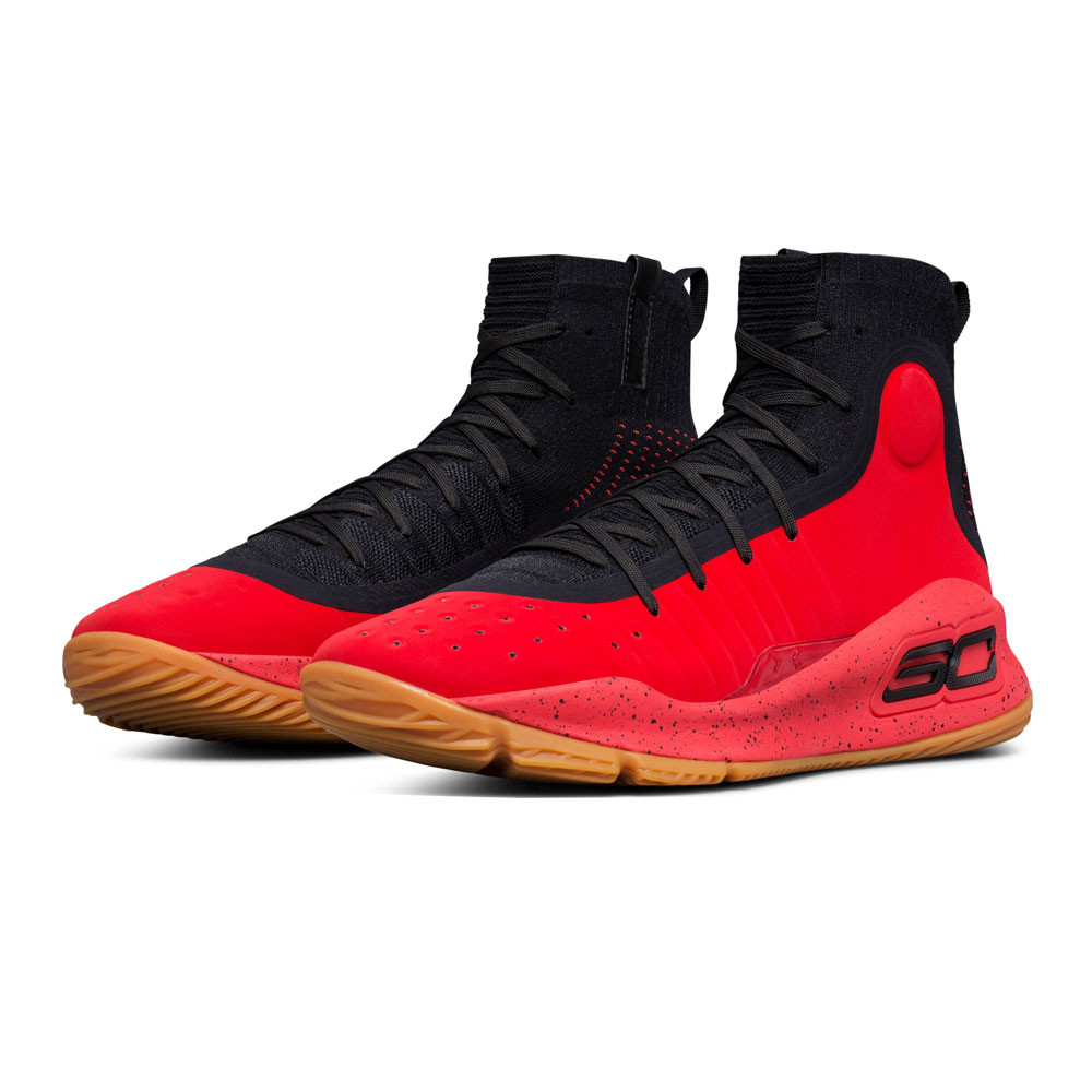 innovative design 3418d fab15 Details about Under Armour Mens Curry 4 Basketball Shoes Black Red Sports  Breathable