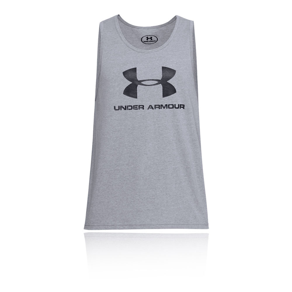 Under Armour Mens Sportstyle Logo Tank Top Grey Sports Gym Breathable