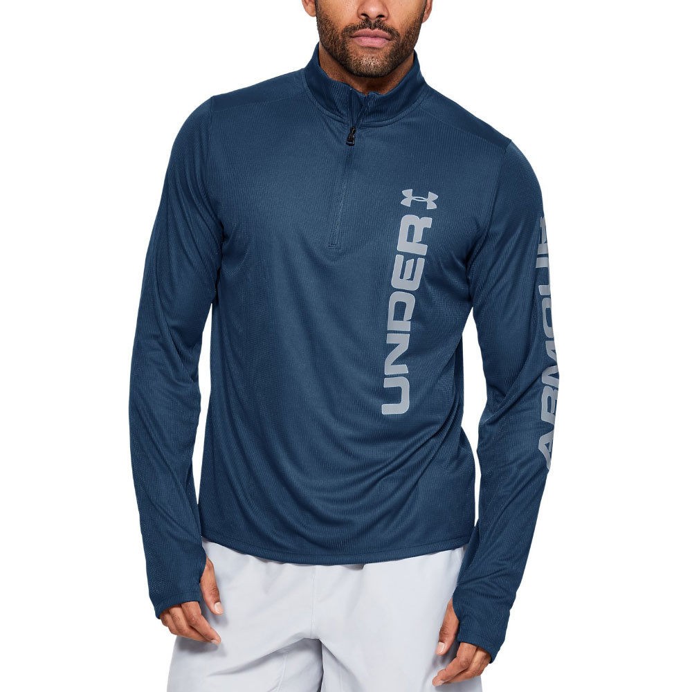 Mens Under Armour Speed Stride 1/4 Zip Top In Black Odzież męska Ua Tech Fabric Is