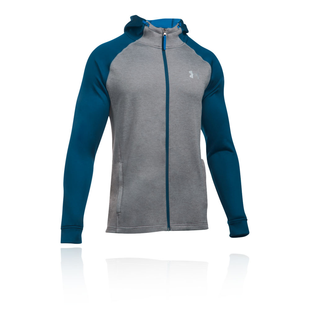 bdb311937 Details about Under Armour Mens Terry Fitted Full Zip Hoodie Grey Navy Blue  Sports Gym Hooded