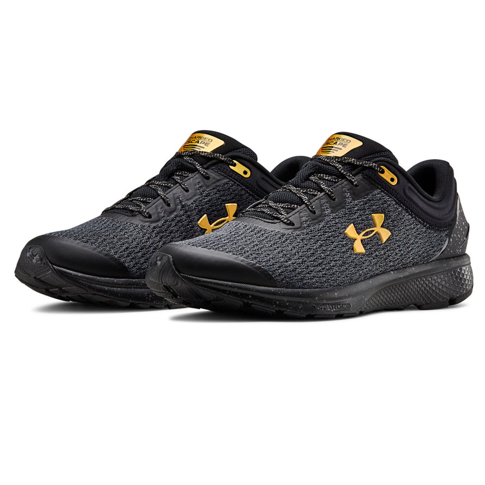 Under Armour Charged Escape Black Grey Running Shoes Lace Up Trainers