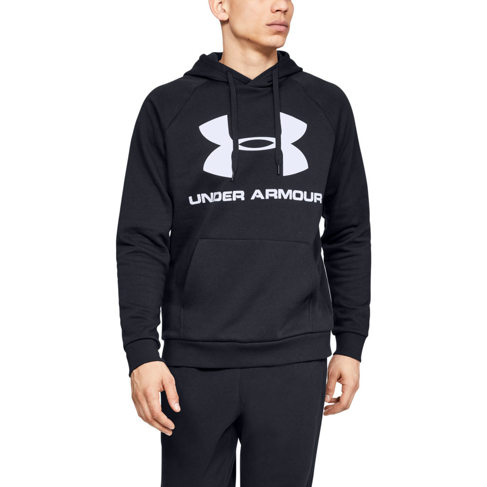 Under Armour Mens Rival Fleece Hoodie Black Sports Gym Breathable Lightweight