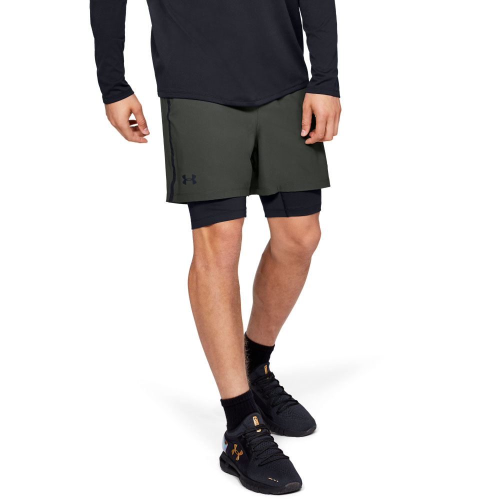 Details zu Under Armour Mens Qualifier 2 in 1 Shorts Pants Trousers Bottoms Green Sports