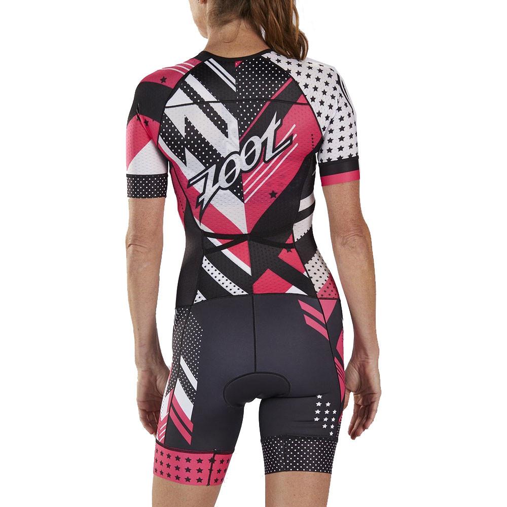 Zoot Womens LTD Tri Short Sleeve Aero Racesuit Black Pink White Sports Triathlon